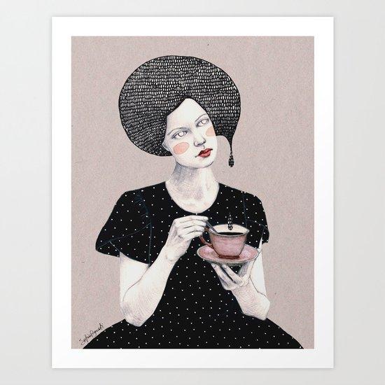 Nina in black Art Print