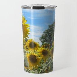 Sunflower field in the Summer ft. a nice blue sky Travel Mug