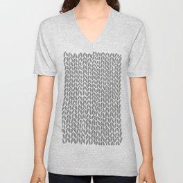 Hand Knit Dark Grey Unisex V-Neck