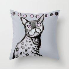 Lunar Neko Throw Pillow