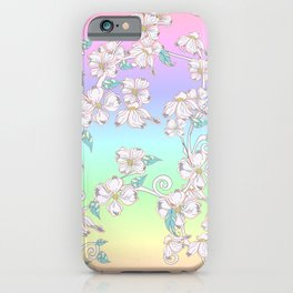 Floral Pattern Flowers Aesthetic Pastel Rainbow Ornament iPhone Case