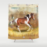 pony Shower Curtains featuring Apache Pony by Trudi Simmonds