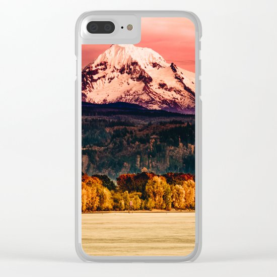 Sunset Snowy Mountain - Mt. Hood Clear iPhone Case