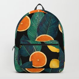 Lemons And Oranges On Black Backpack
