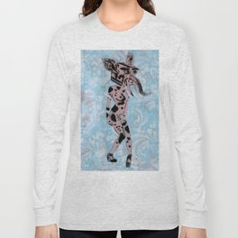Pinup Girls on a Damask Long Sleeve T-shirt