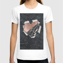 Modern Torn Paper Heart and Rose Gold Marble T-shirt