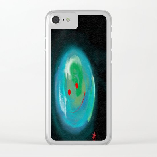Smiling Planet Clear iPhone Case