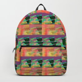 Purple Peach Plaid Backpack