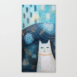 abstract white cat painting with leaves Canvas Print