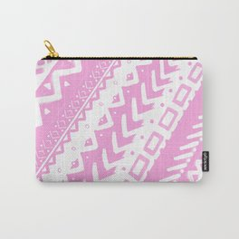 PASTEL PINK PAINTED TRIBAL DESIGN PATTERN PAINTED MULTI MEDIA Carry-All Pouch