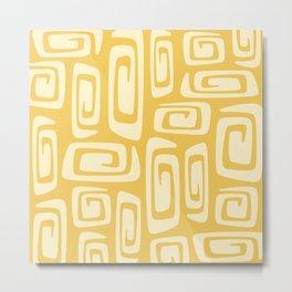 Mid Century Modern Cosmic Abstract 514 Yellow On Yellow Metal Print