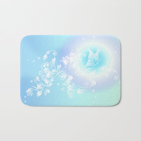 Floral Turquoise Butterfly Fantasy Bath Mat