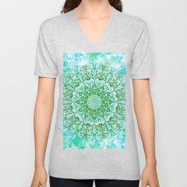 Ocean Aqua Blue Watercolor Mandala , Relaxation & Meditation Turquoise Flower Circle Pattern Unisex V-Neck