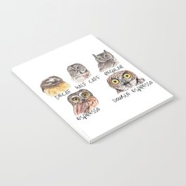 Owl Caffeine Meter -  funny owl coffee Notebook