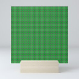 Christmas Holly Green and Evergreen Tartan with White Lines Mini Art Print