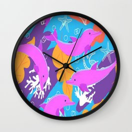 Pink Dolphins Wall Clock