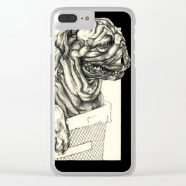Geometric Black and White Animal portrait Pug Clear iPhone Case