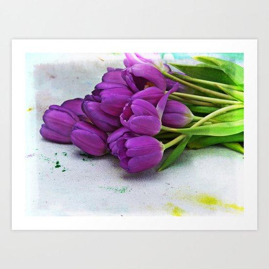 Spring Botanical -- Purple Tulips on Dropcloth Art Print