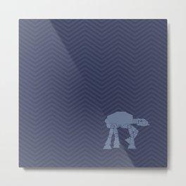 AT-AT Navy Blue and Chevrons Metal Print