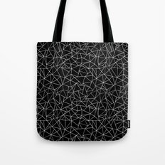 Shattered White on Black Tote Bag