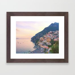 Positano Italy Sunset Framed Art Print