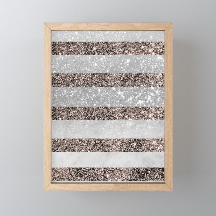 White Marble Rose Gold Glitter Stripe Glam #2 #minimal #decor #art #society6 Framed Mini Art Print