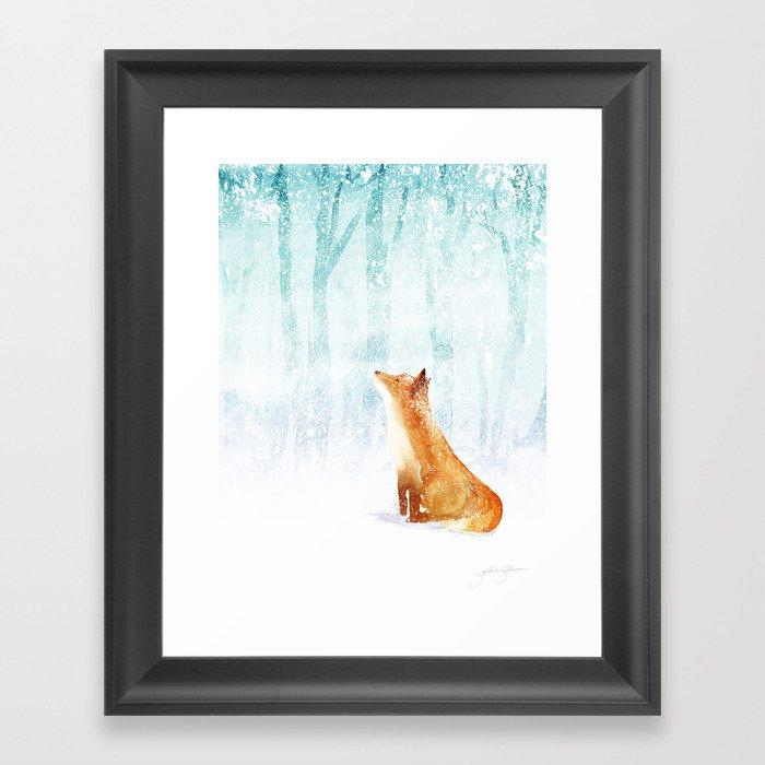 Winter Fox Gerahmter Kunstdruck