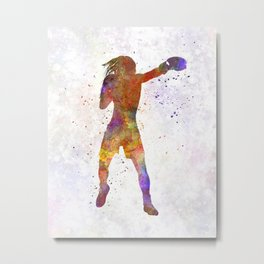 woman boxer boxing kickboxing silhouette isolated 03 Metal Print