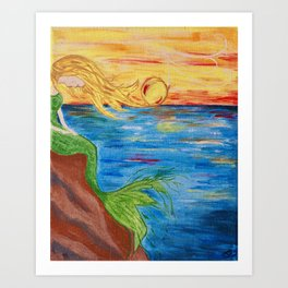Mermaid Sunset Art Print