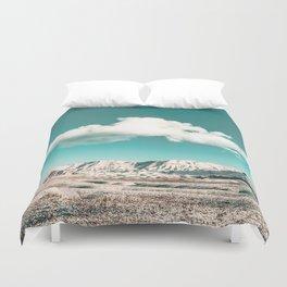 Vintage Desert Snow Cloud // Scenic Desert Landscape in Winter Fluffy Clouds Snow Mountains Cacti Duvet Cover