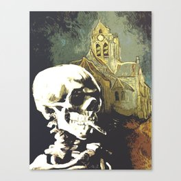 Skull with burning cigarette at Auvers church  Canvas Print