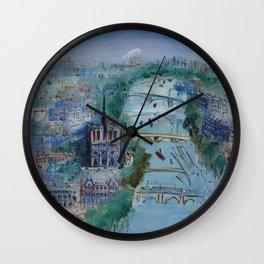 River Seine, Paris, France in Moonlight landscape painting wall decor by Jéan Dufy Wall Clock