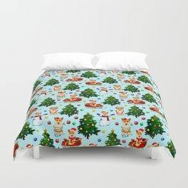 Blue Christmas - From Corgis, Santa And Christmas Trees Duvet Cover