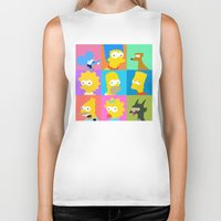 simpsons Biker Tanks featuring Simpsons by thev clothing