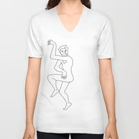 naked V-neck T-shirts featuring naked by Michael Interrante