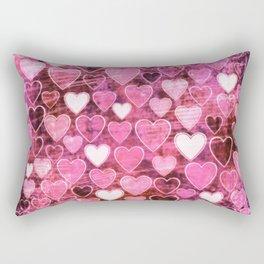 Grungy Pink Hearts Rectangular Pillow
