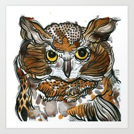 Owl Tea Art Print