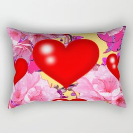 Red Hearts Art & Pink Floral Purple Patterns Rectangular Pillow