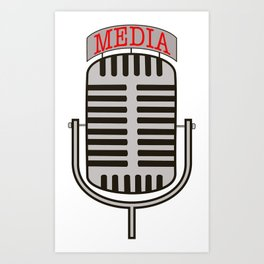 """""""Media"""", an old fashioned microphone illustrated graphic.  Art Print"""