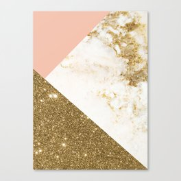 Gold marble collage Canvas Print