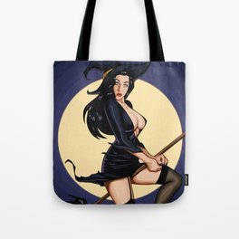Halloween witch pumpkin sabrina scary graveyard spooky spider broomstick hat holiday bats Tote Bag