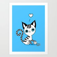 kitten Art Prints featuring Kitten by Freeminds
