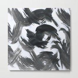 Brush, Abstract, Black & White Metal Print