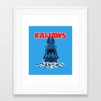 pacific rim Framed Art Prints featuring KaiJaws (Pacific Rim/Jaws) by Tabner's