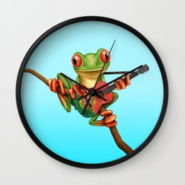Tree Frog Playing Acoustic Guitar with Flag of Portugal Wall Clock