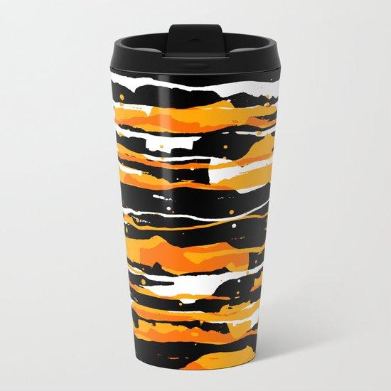 black and orange 02 Metal Travel Mug
