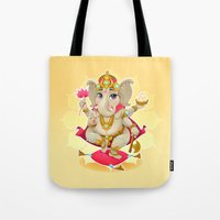 ganesh Tote Bags featuring Ganesh by Danilo Sanino