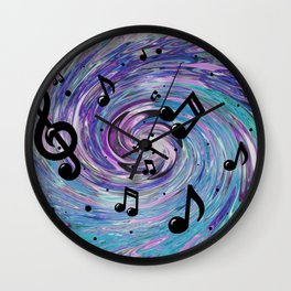 Musical Notes in Blue Wall Clock