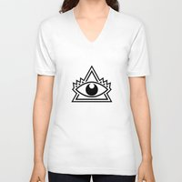 third eye V-neck T-shirts featuring Third Eye by Diogo Rueda