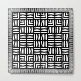 Geometric Black and White Tribal-Inspired Woven Pattern Metal Print